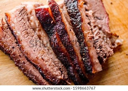 Beef Brisket barbecue. Chopped Beef Brisket. Traditional Texas Smoke House meat. Rubbed with spices and smoked in a Texas smoke house over mesquite wood in traditional classic bbq method.
