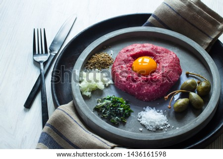 Beef tartare with capers, herbs and onions Zdjęcia stock ©
