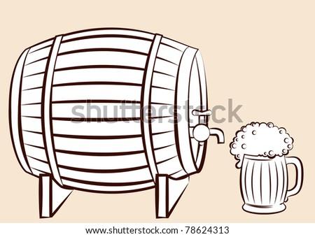Beer .Raster - stock photo