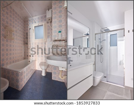 Before and after bathroom renovation in Barcelona Photo stock ©