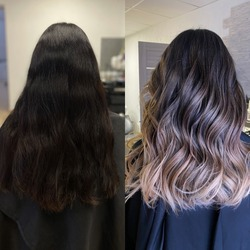 before and after complex staining exit from black to beautiful light blond