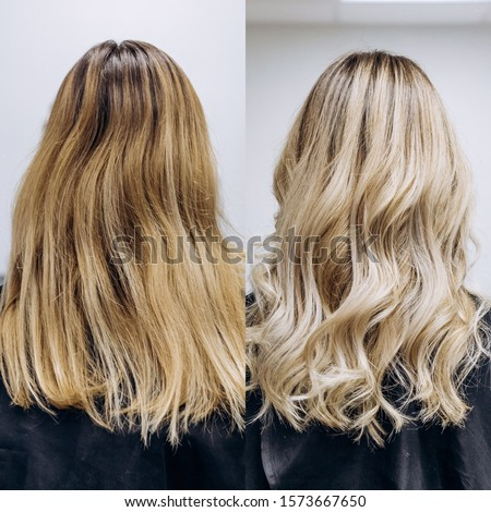 before and after hair color yellow blond to beautiful light blond