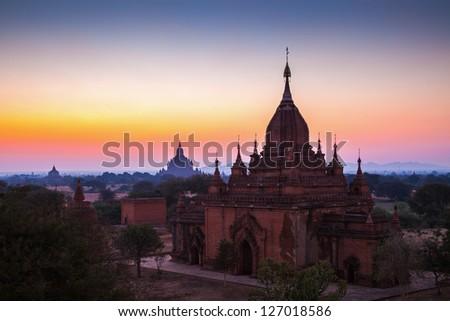 Before sunrise over temples of Bagan in Myanmar