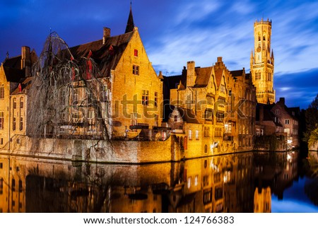 """Belfry"" and ""Rozenhoedkaai "" in Bruges, Belgium"