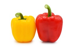 ฺBell peppers isolated on white background.