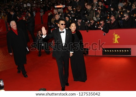 BERLIN, GERMANY - FEBRUARY 07: Wong Kar Wai and his wife Esther  attend  the opening party of the 63rd Berlinale l Film Festival at The Berlinale Palace on February 7, 2013 in Berlin, Germany