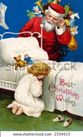 'Best Christmas Wishes' - Santa Claus listening to little girl's prayer - a circa 1910 vintage greeting card illustration by Ellen Clapsaddle. - stock photo