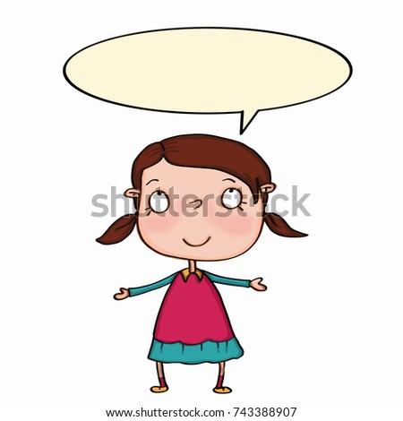 beuutiful cute brown hair girl looking up and speaking Stok fotoğraf ©