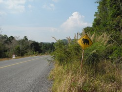 beware of pachyderms, road sign, cambodia