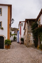 Óbidos, Portugal - famous tourist destination for its distinguished architecture and history - Bright Coloured Traditional Houses with Flowers and Narrow Cobblestone Streets