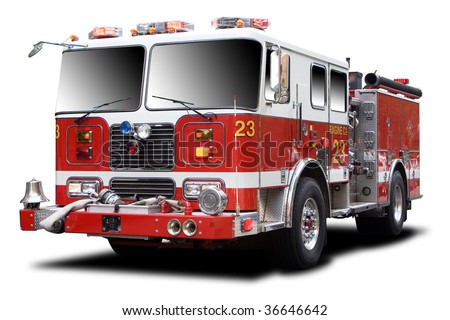 Big Red Fire Truck Isolated on White