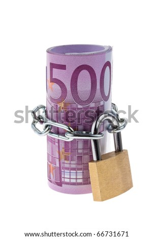 500 ? bill concluded with a chain - stock photo