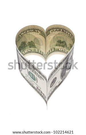 $ 100 bill in heart shape