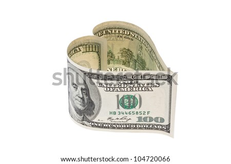 $ 100 bill into a heart shape. against a white background