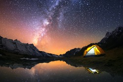 5 Billion Star Hotel. Camping in the mountains under the starry night sky. Nepal, Kanchenjunga region.