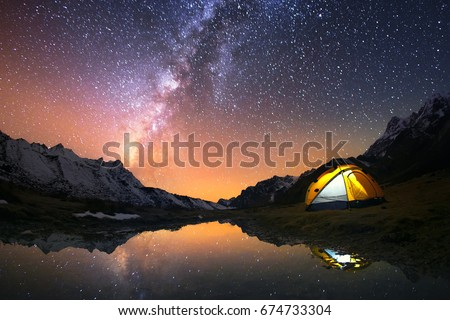 5 Billion Star Hotel. Camping in the mountains under the starry night sky. Nepal, Kanchenjunga region.  #674733304