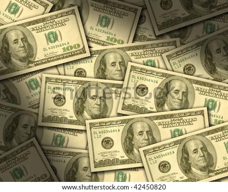 $100 bills laying flat dramtically lit. Horizontal - stock photo