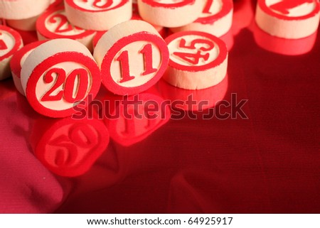 2011- bingo numbers on red background