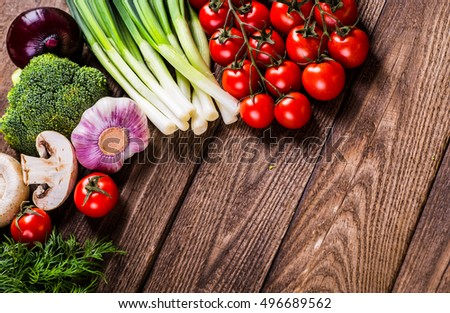 Bio Healthy food, herbs and spices. Organic vegetables on wood #496689562