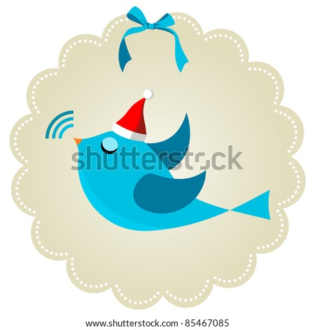 bird communication at Christmas time. Social media network connection concept