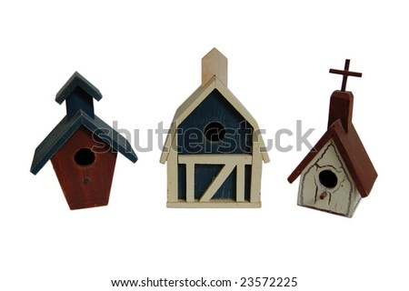 3 bird houses isolated on white