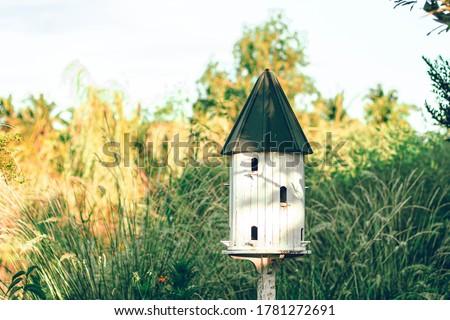 Birdhouses And Bird Feeder.white Wooden Outdoor Garden Birds Wood Nesting House Nest Home in Garden.Garden nature idea Stockfoto ©
