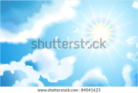 Birds fly to the sun in the blue sky through the clouds.