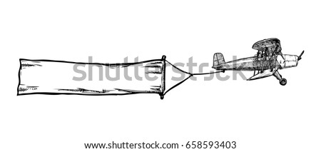 black and white hand drawn illustration of vintage red biplane with flying advertising banner. Airplane on white background. Place for your text.