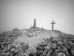 (black and white) the top of the mountain, trekking on Monte Amaro in the Majella national park, mountain range of the Apennines. Maiella mountain massif, Abruzzo, L'Aquila.
