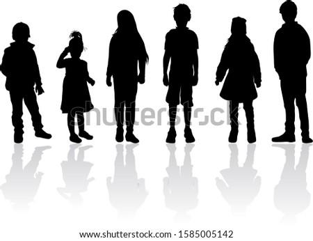 Black children silhouettes, conceptual illustration .