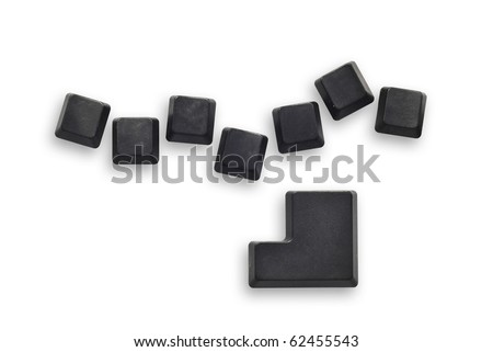 7 Black computer button with enter button isolated on white