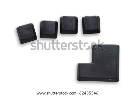 4 Black computer button with enter button isolated on white