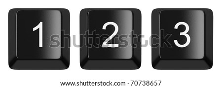 1, 2, 3 black computer keys alphabet isolated on white