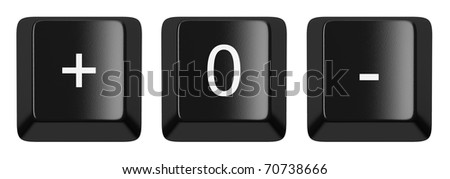 +, 0, - black computer keys alphabet isolated on white