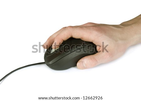 black computer mouse and hand
