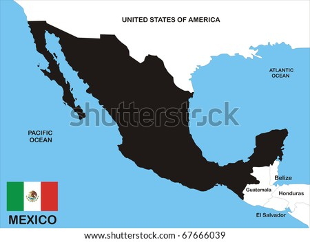 black map of Mexico country with neighbors and national flag - stock photo