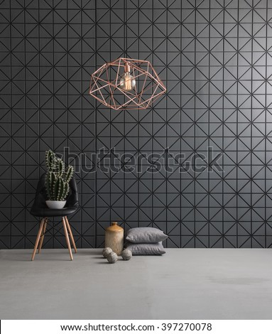 black textured wall and modern lamp black leather chair with cactus and pillow.\ concrete floor and ball