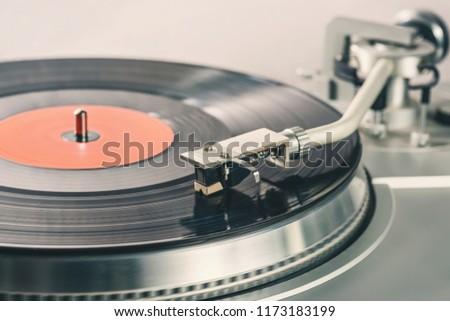 Black vinyl record. Vinyl player for vinyl discs. Needle on vinyl record #1173183199