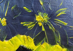 black-yellow contrasting lines freehand painted flowers