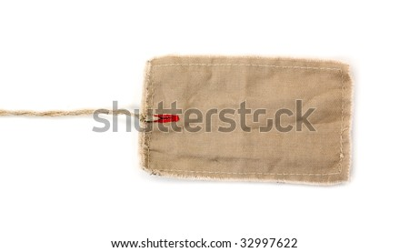Blank beige tag isolated on white background