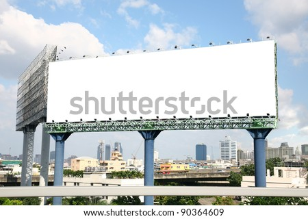 Blank billboard with cityscape on sky