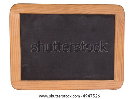Blank black chalk board with wood frame isolated over white with a clipping path