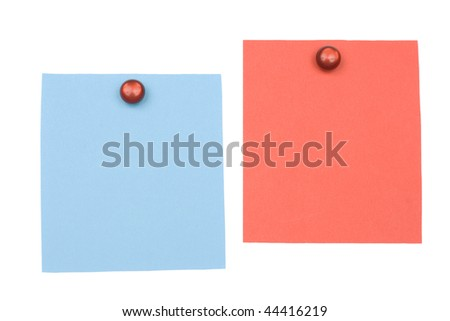 blank blue and red  note with magnet