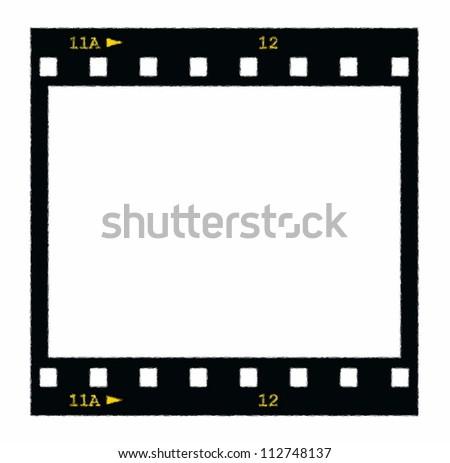 blank film strip frame isolated on white