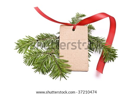 Blank gift tag tied with of red satin ribbon and fir tree branch