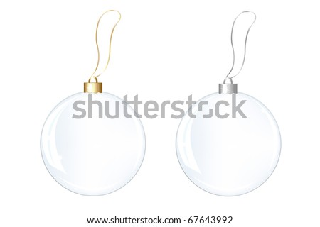 2 Blank Glass New Years Spheres, Isolated On White Background