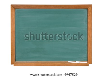 Blank green chalk board with chalk in a wood frame isolated over white with a clipping path