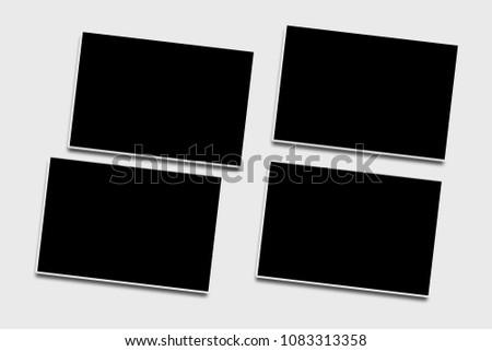4 blank isolated photo frames...