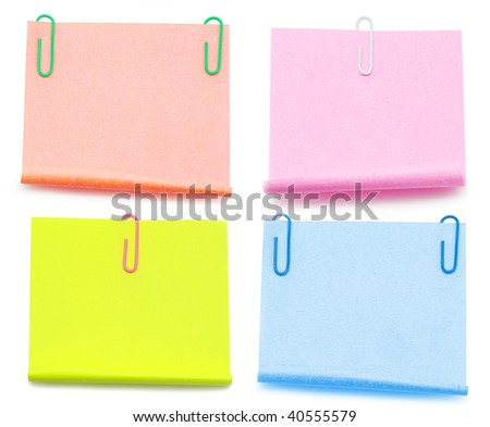 Blank note paper and red paper-clip - stock photo
