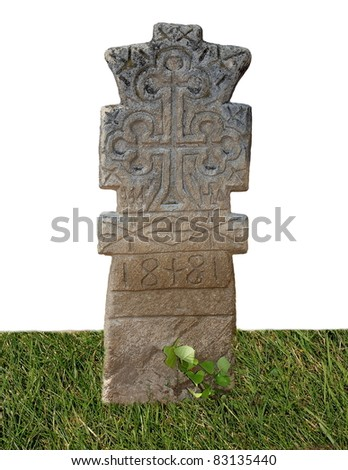 Blank old graves isolated on white background, texture